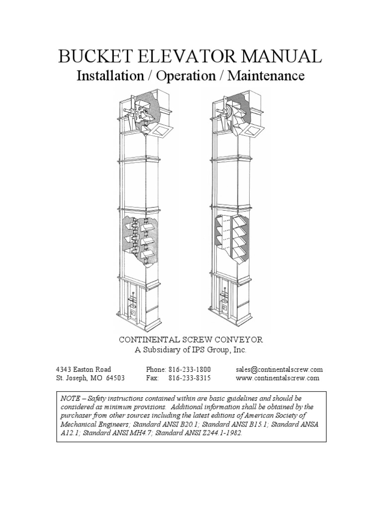 bucket elevator manual belt mechanical elevator rh pt scribd com Bucket Lift Excavator Bucket