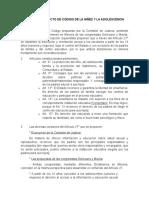Notas Al Artículo 27 Del Proyecto de Nuevo Código de Niños y Adolescentes