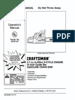 Craftsman 3.7 Cu.in 24 Inch Guide Bar Chain Saw