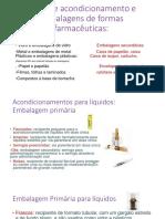Tipos de Acondicionamento Ou Embalagens de Formas Farmacêuticas