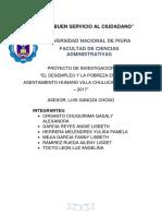 """""""El Desempleo y La Pobreza en El Asentamiento Humano Villa Chulucanas- Piura – 2017"""""""