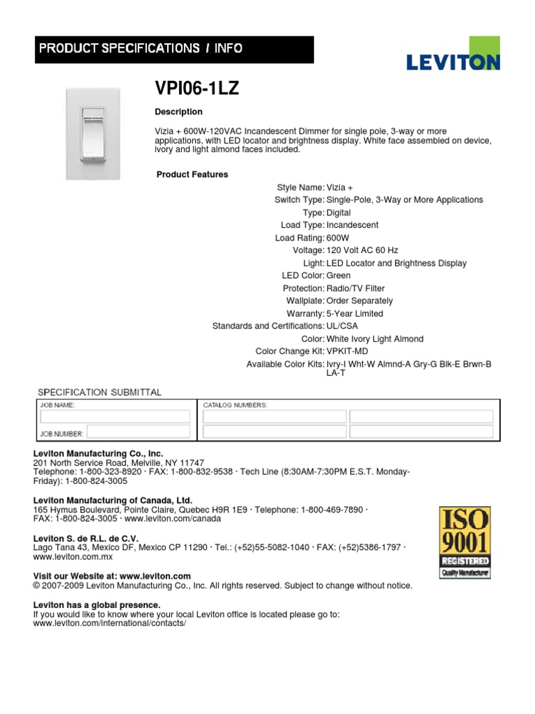 Leviton Vpi06 1lz Specs | Electric Power | Electricity
