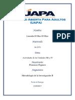Metodologia de La Investigacion Ii_florencio Peguero. Actividades de Las Unidades Iiii y IV