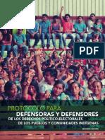 Protocolo para Defensoras y Defensores de los Derechos Político-Electorales de los Pueblos y Comunidades Indígenas