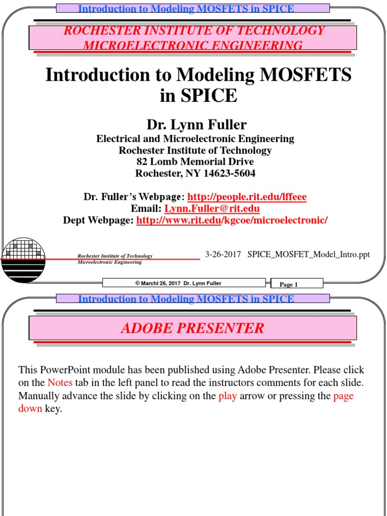 Spice Mosfet Model | Mosfet | Spice