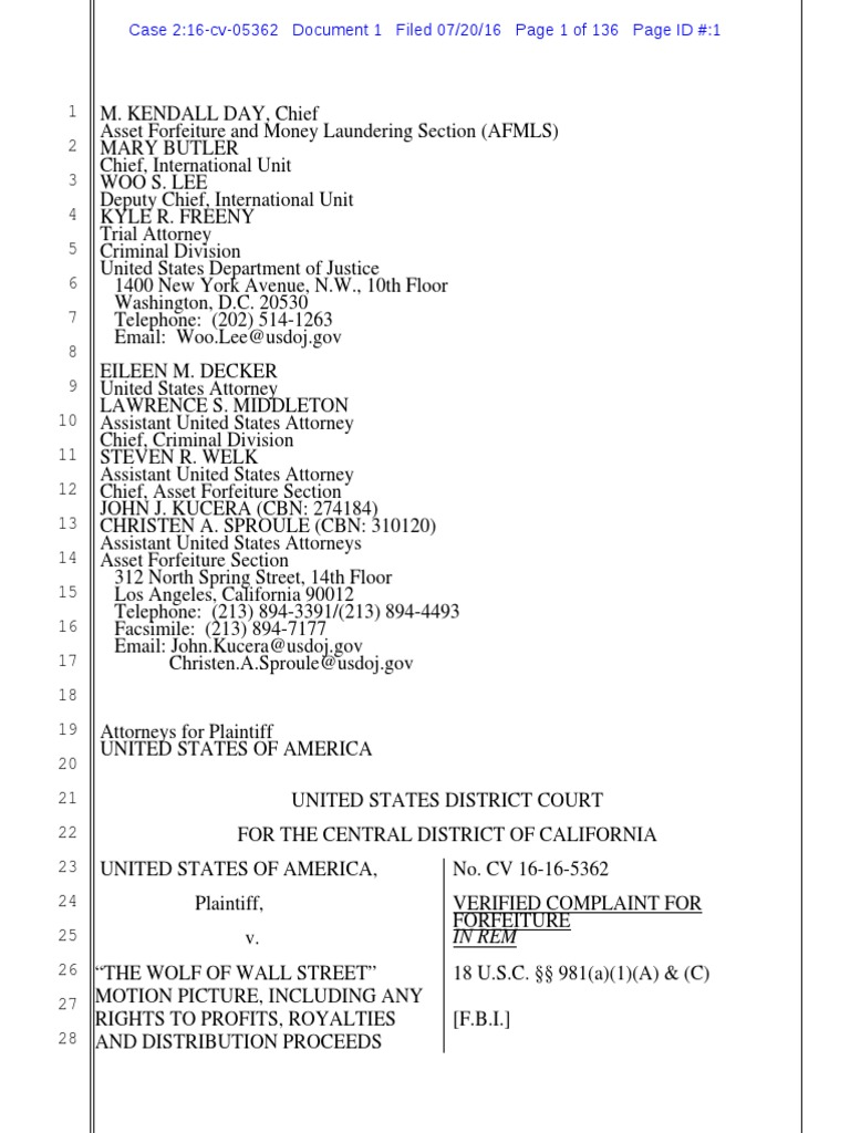 Wolf Of Wall Street Plaint Filed Pdf Joint Venture