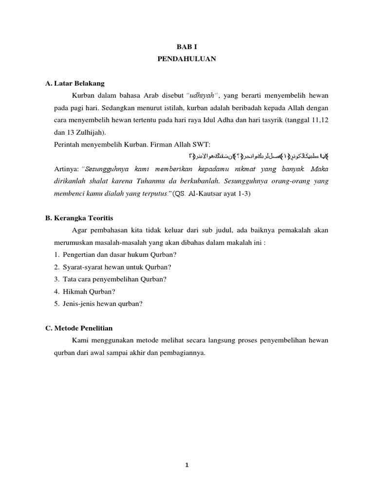 Contoh Laporan Hasil Pengamatan Penyembelihan Hewan Qurban Seputar Laporan