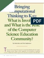 Bringing Computational Thinking K12 Barr Stephenson 2011