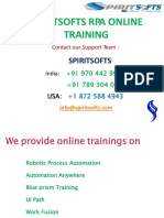 Spiritsofts provides Online Training for Robotics process Automation (RPA) in HYDERABAD INDIA, CANADA, USA, UK, UAE, AUSTRALIA  and  many more.