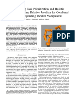 Investigating Task Prioritization and Holistic Coordination using Relative Jacobian for Combined 3-Arm Cooperating Parallel Manipulators
