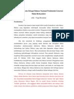 Bahasa Indonesia Sebagai Pembentuk Generasi Muda Berkarakter