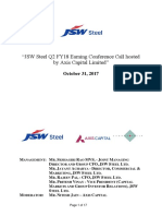 JSW Steel Q2 FY18 Results Call Transcript