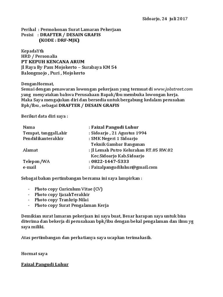 Surat Lamaran Kerja Faizal Pangudiluhur Kode Drf Mjk