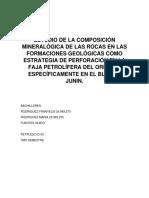 Estudio de La Composición Mineralógica de Las Rocas en Las Formaciones Geológicas Como Estrategia de Perforación en La Faja Petrolífera Del Orinoco Específicamente en El Bloque Junin