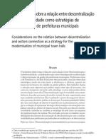 Considerações sobre a relação entre descentralização e intersetorialidade