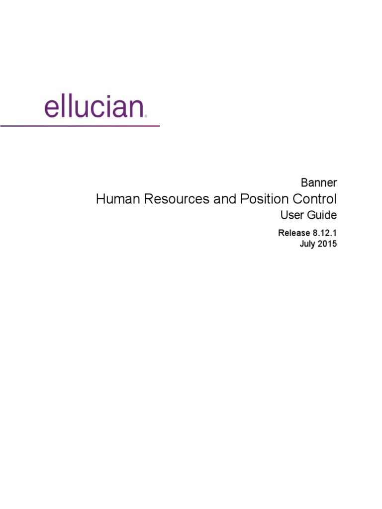 Banner Human Resources Position Control User Guide 8 12 1 | Payroll