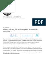 Liberar Instalação de Fontes Pelos Usuários No Windows 7 - Ricardo Martins