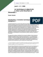 GUCHET, X._Evolution technique et objectivité technique chez Leroi-Gourhan et simondon