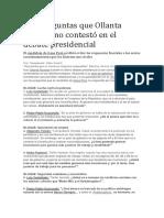 Seis Preguntas Que Ollanta Humala No Contestó en El Debate Presidencial