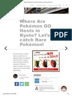 Where Are Pokémon GO Nests in Kyoto