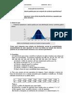 Avaliação de Estatística Licenciatura
