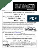 May 2008 Jayhawk Audubon Society Newsletter