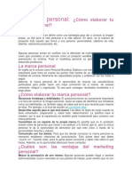 Marketing Personal Cómo Elaborar Tu Marca Personal