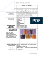 Ficha Técnica de Producto Alimenticio