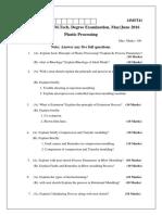 Plastic Processing Question Paper 2016