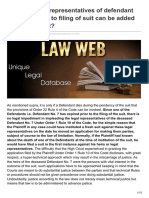 Lawweb.in-whether Legal Representatives of Defendant Who Died Prior to Filing of Suit Can Be Added as Party to