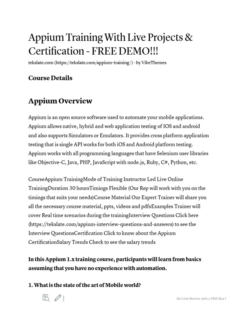 Appium Training With Live Projects & Certification - FREE DEMO