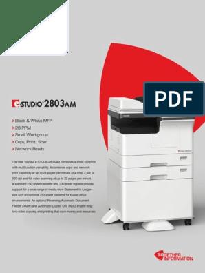 Toshiba E-STUDIO 2803AM Spec Sheet | Image Scanner | Printer (Computing)
