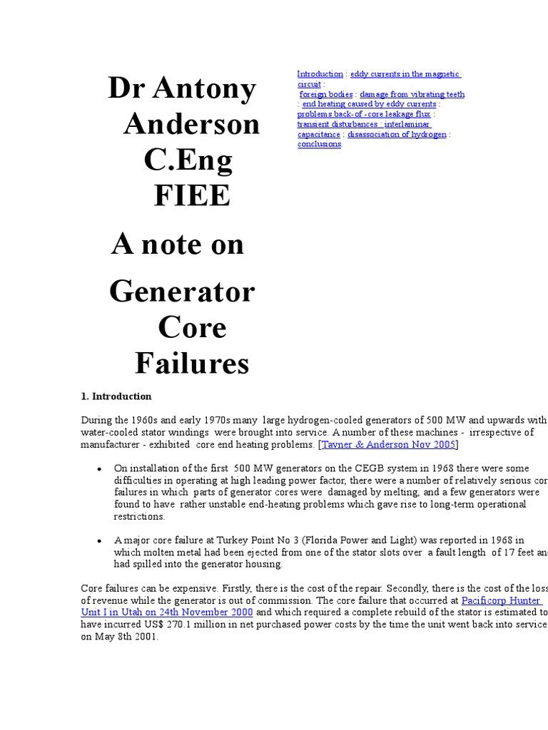 A Note on Generator Core Failure | Capacitor | Insulator
