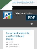As 10 Habilidades de Um Cientista de Dados – Ciência e Dados