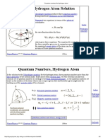 Quantum Numbers for Hydrogen Atom