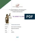 El Juego y La Apuesta-Derecho de Contratos
