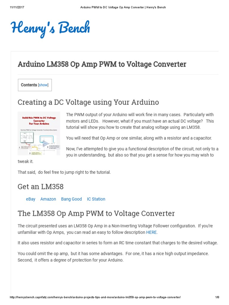 Arduino PWM to DC Voltage Op Amp Converter _ Henry's Bench
