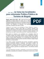 Comunicado de Prensa Talleres Politica de Turismo
