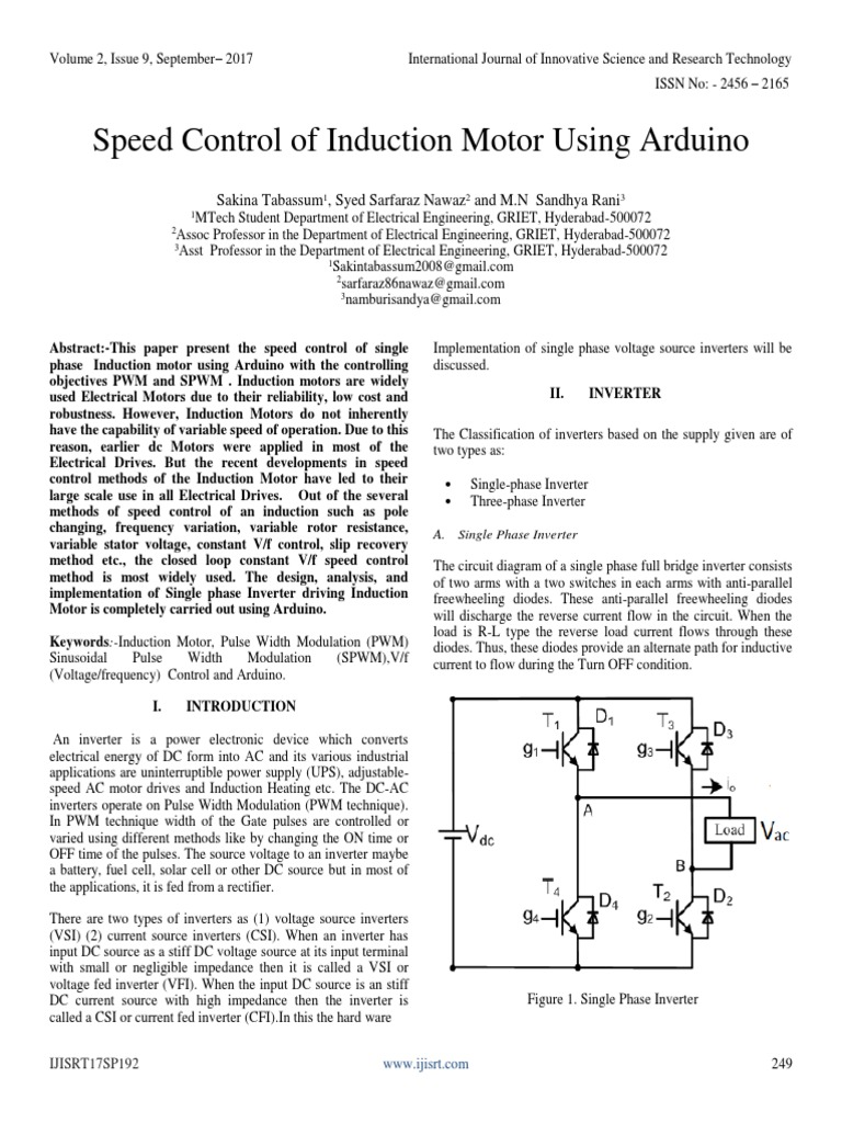 Speed-Control-of-Induction-Motor-Using-Arduino.pdf | Electric Motor ...