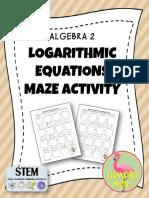 Algebra2PreCalculusLogarithmicandExponentialEquationsMazeFREEBIE