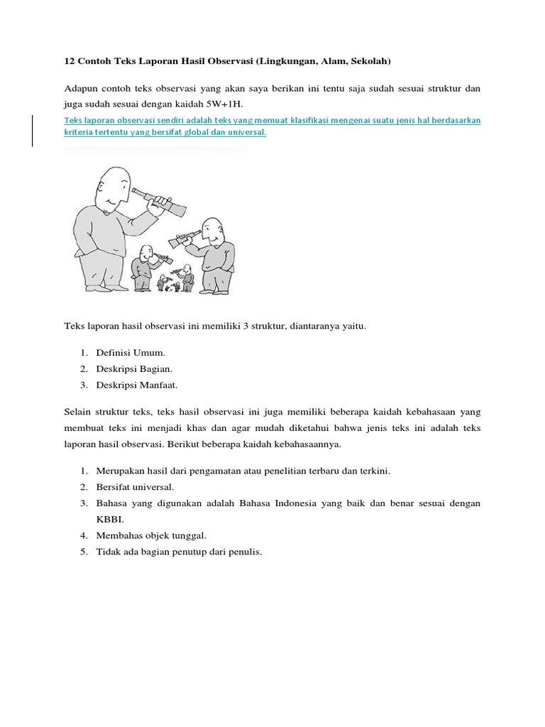 12 Contoh Teks Laporan Hasil Observasi 2