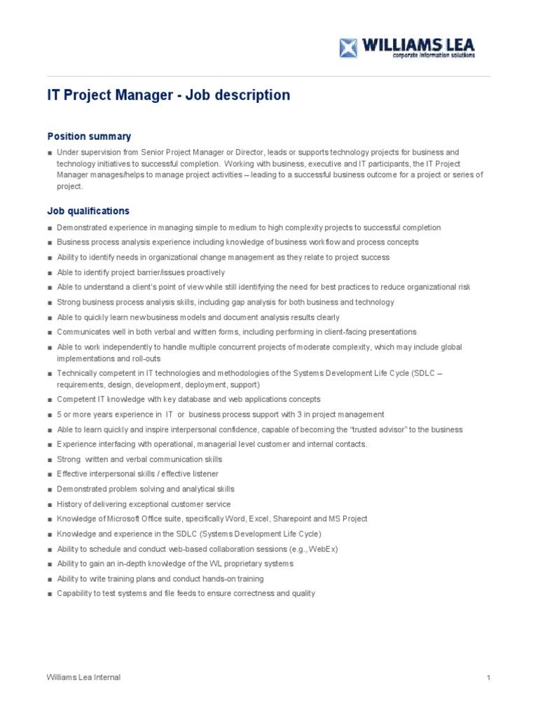 IT Project Manager Job Description Business Process Project 1510483761 IT  Project Manager Job Description