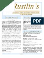Feb-Mar 2008 Rustlin's Newsletter Prairie and Timbers Audubon Society