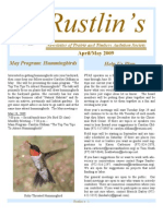 Apr-May 2009 Rustlin's Newsletter Prairie and Timbers Audubon Society