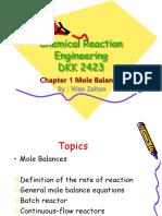 1 Chapter 1-Mole Balances
