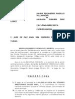 Demanda Ejecutivo Mercantil Escrito inicial.