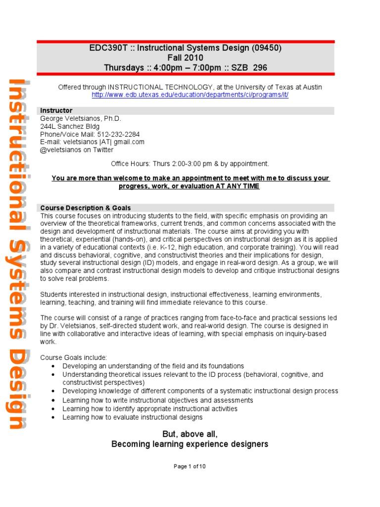 Instructional Systems Design Syllabus Instructional Design Educational Technology