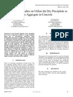 Experimental Studies on Utilize the Dry Precipitate as Fine Aggregate in Concrete