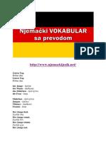 Njemački VOKABULAR Sa Prevodom
