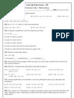 Lista de Exercícios 03 - Operaçoes matemáticas sexto ano